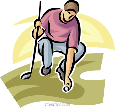 golfer placing his ball Royalty Free Vector Clip Art illustration vc063033