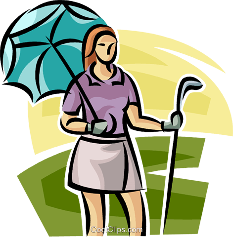 female golfer standing with an umbrella Royalty Free Vector Clip Art illustration vc063034