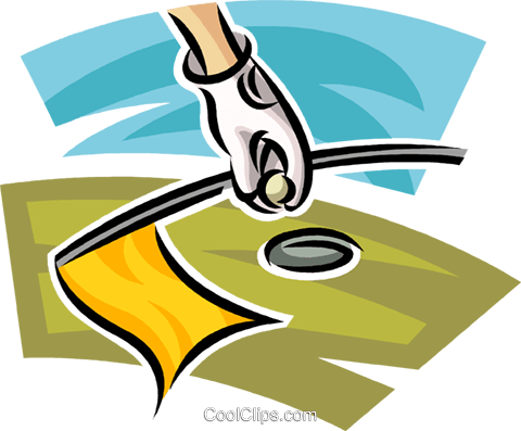 golfer taking his ball out of the cup Royalty Free Vector Clip Art illustration vc063035