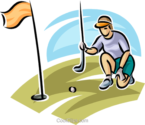 golfer lining up her putt Royalty Free Vector Clip Art illustration vc063038
