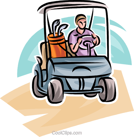 Golfer driving a cart Royalty Free Vector Clip Art illustration vc063040