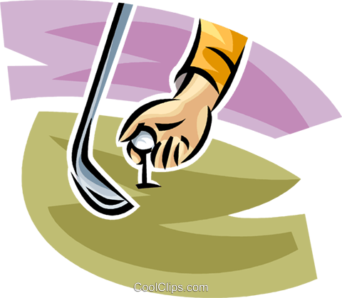 golfer teeing up his ball Royalty Free Vector Clip Art illustration vc063041