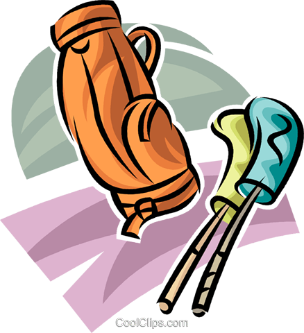 golf bag and clubs Royalty Free Vector Clip Art illustration vc063043