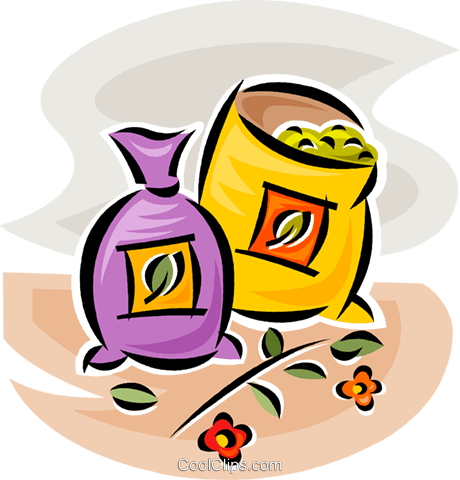 bag of grains Royalty Free Vector Clip Art illustration vc063059