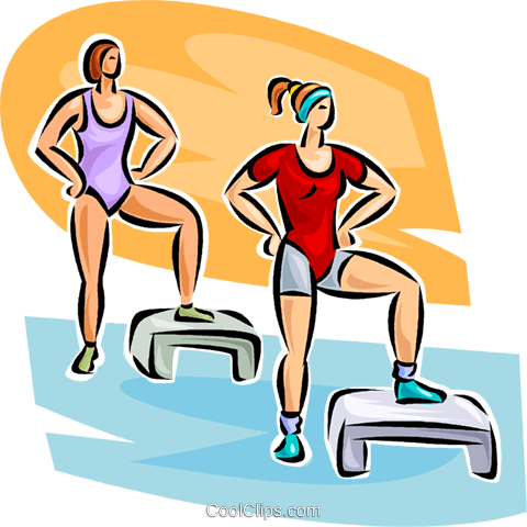 women doing aerobics Royalty Free Vector Clip Art illustration vc063065