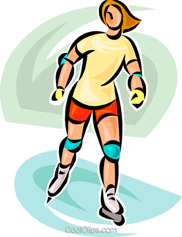 woman on roller blades Royalty Free Vector Clip Art illustration vc063068