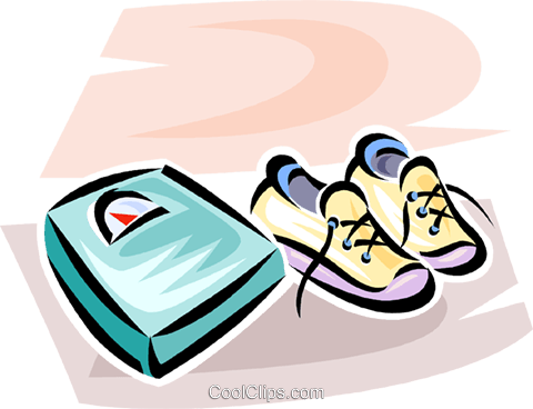 pair of running shoes beside the scale Royalty Free Vector Clip Art illustration vc063069