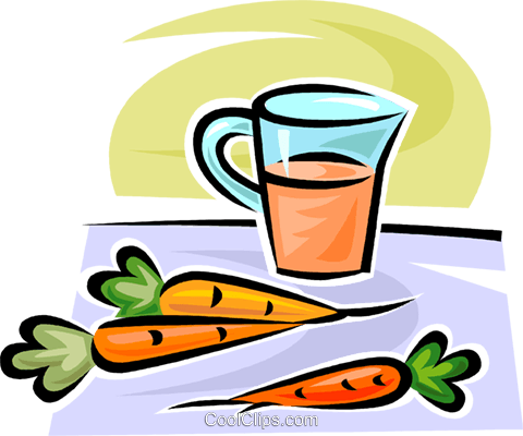 carrots and carrot juice Royalty Free Vector Clip Art illustration vc063082