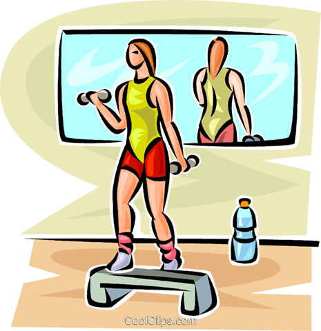 woman lifting weights Royalty Free Vector Clip Art illustration vc063095