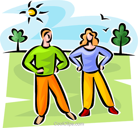 couple stretching Royalty Free Vector Clip Art illustration vc063102