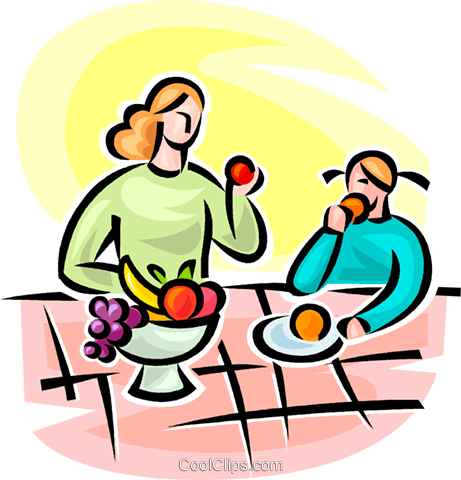 woman and girl eating fruit Royalty Free Vector Clip Art illustration vc063103