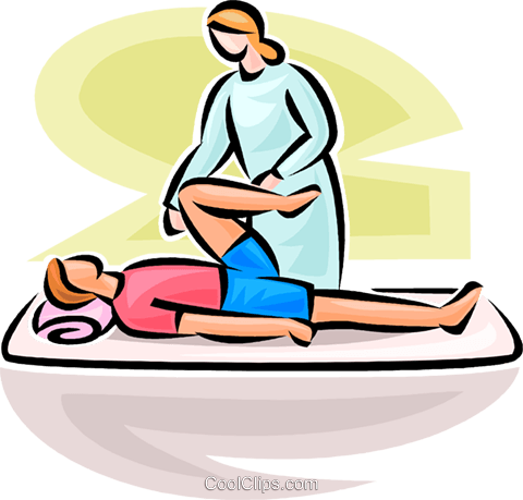 Man Receiving Physiotherapy Royalty Free Vector Clip Art