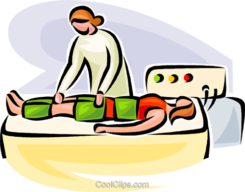 woman receiving physiotherapy Royalty Free Vector Clip Art illustration vc063105