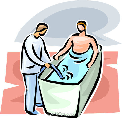 man sitting in a therapeutic whirlpool Royalty Free Vector Clip Art illustration vc063107