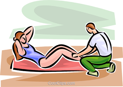 woman doing sit-ups Royalty Free Vector Clip Art illustration vc063112