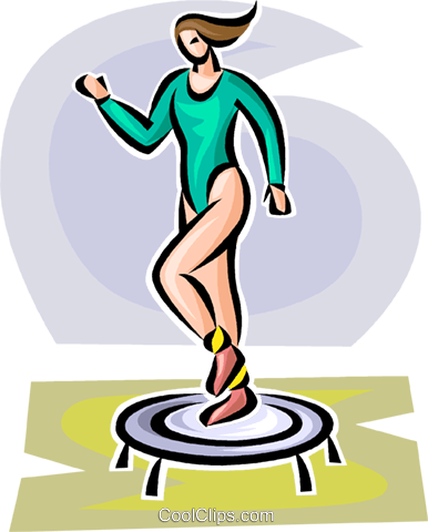 woman working out on a small trampoline Royalty Free Vector Clip Art illustration vc063113