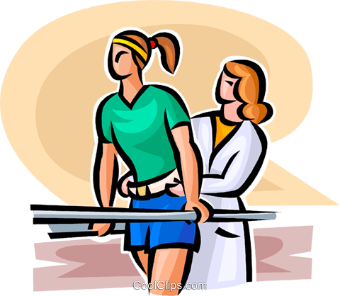woman doing physiotherapy Royalty Free Vector Clip Art illustration vc063115