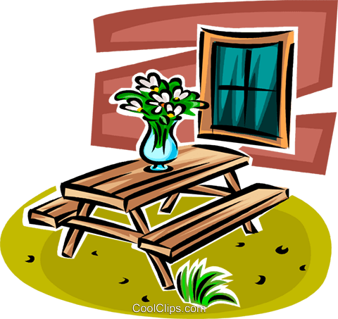 flowers in a vase sitting on a picnic tab Royalty Free Vector Clip Art illustration vc063118