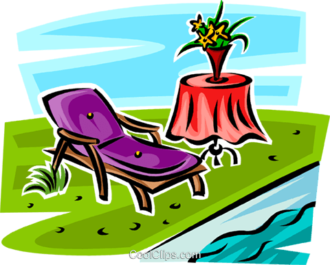Lawn Chair Beside A Pool Royalty Free Vector Clip Art Illustration