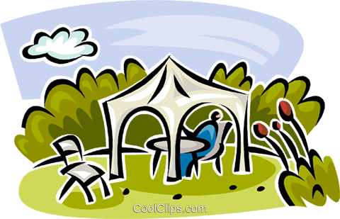 person sitting in the shade under a tent Royalty Free Vector Clip Art illustration vc063124