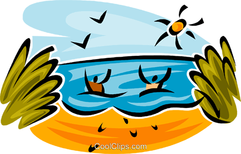 people playing in the water at the beach Royalty Free Vector Clip Art illustration vc063125