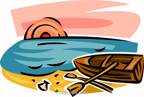 rowboat resting on the beach Royalty Free Vector Clip Art illustration vc063129