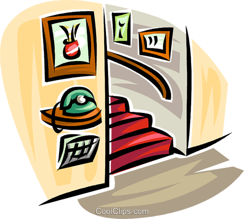 telephone in a hall with stairs Royalty Free Vector Clip Art illustration vc063150