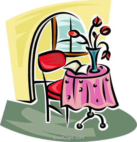 small breakfast table and chair Royalty Free Vector Clip Art illustration vc063152