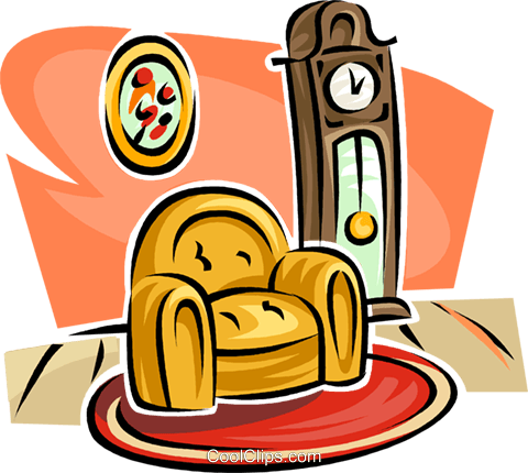 grandfather clock and a chair Royalty Free Vector Clip Art illustration vc063156