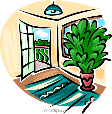 door opening onto a patio Royalty Free Vector Clip Art illustration vc063160