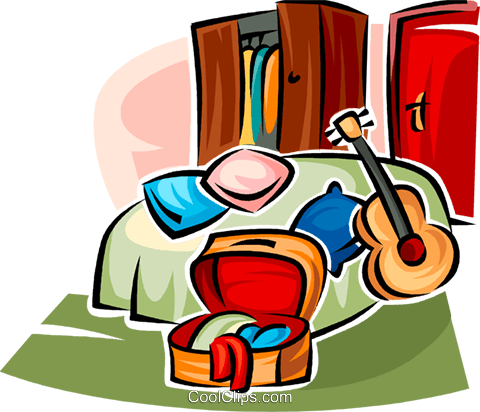 bedroom furniture and a guitar Royalty Free Vector Clip Art illustration vc063172