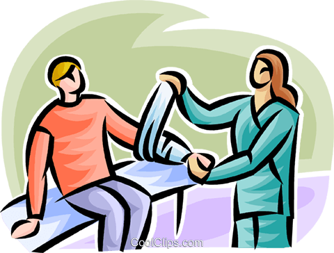 boy having a cast put on his arm Royalty Free Vector Clip Art illustration vc063175