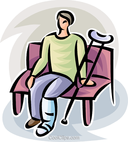 person with a broken leg Royalty Free Vector Clip Art illustration vc063176