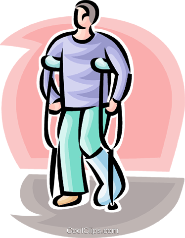 man with a broken leg and crutches Royalty Free Vector Clip Art illustration vc063177