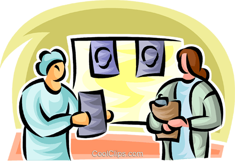 doctors looking at an x-ray Royalty Free Vector Clip Art illustration vc063178