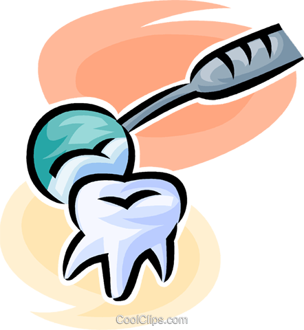 tooth and a dentist's mirror Royalty Free Vector Clip Art illustration vc063183