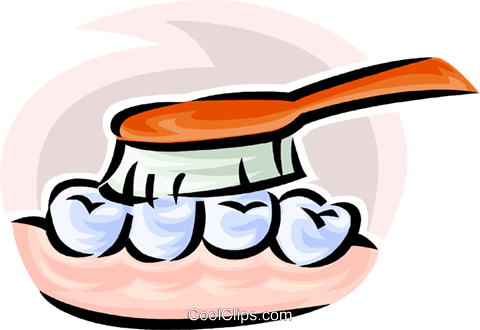 teeth and a toothbrush Royalty Free Vector Clip Art illustration vc063185