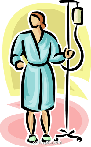 person walking around with an IV pole Royalty Free Vector Clip Art illustration vc063193