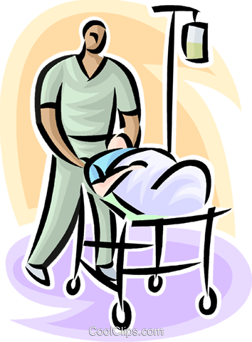 person on a gurney with hospital staff Royalty Free Vector Clip Art illustration vc063194