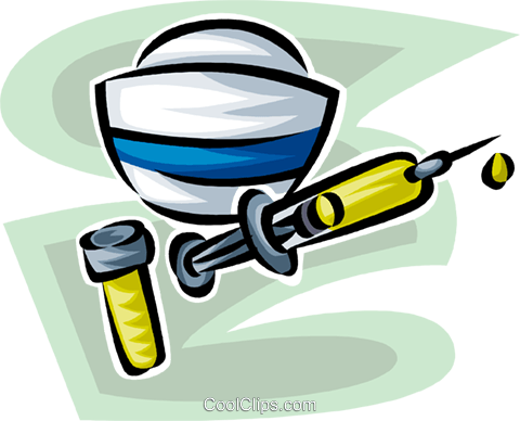 nurse's hat needle and medicine Royalty Free Vector Clip Art illustration vc063206