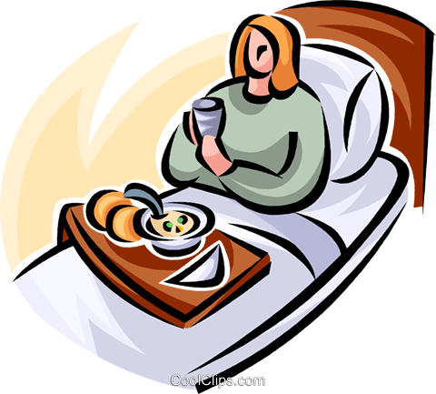 woman in a hospital bed having a meal Royalty Free Vector Clip Art illustration vc063211