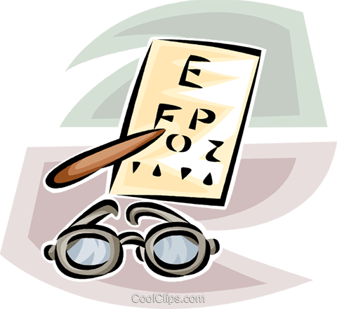 eye glasses and eye exam chart Royalty Free Vector Clip Art illustration vc063221