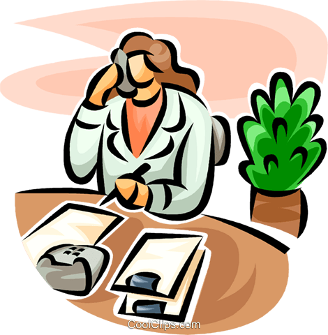 doctor on the phone Royalty Free Vector Clip Art illustration vc063229