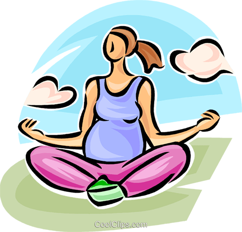 pregnant woman doing yoga Royalty Free Vector Clip Art illustration vc063234