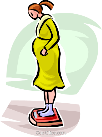 pregnant woman on a scale Royalty Free Vector Clip Art illustration vc063236