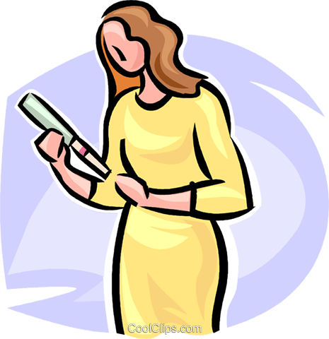 woman with a home pregnancy test Royalty Free Vector Clip Art illustration vc063238