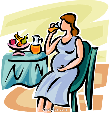 pregnant woman drinking juice Royalty Free Vector Clip Art illustration vc063240