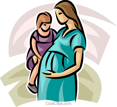 pregnant mother and young child Royalty Free Vector Clip Art illustration vc063243