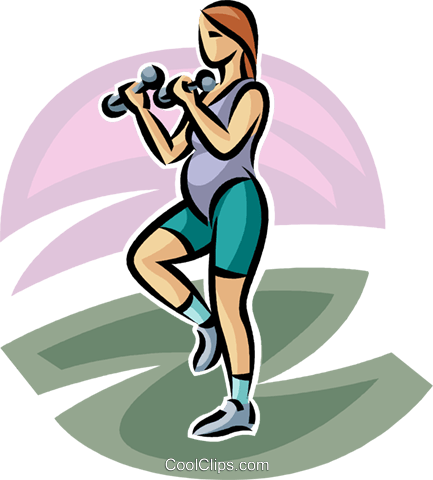 pregnant woman working out Royalty Free Vector Clip Art illustration vc063251