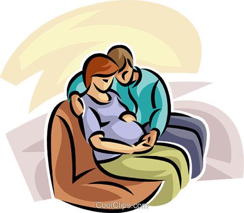 pregnant couple sitting on a couch Royalty Free Vector Clip Art illustration vc063253